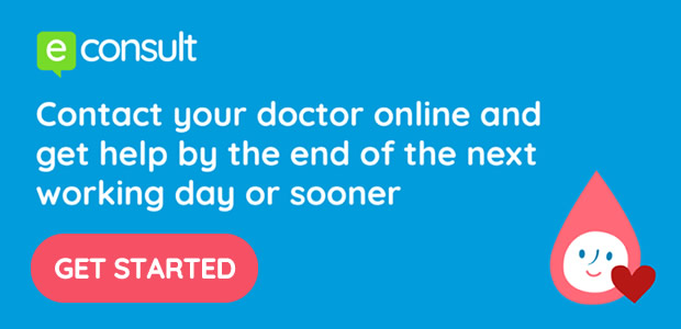 e-Consult - Contact your doctor online and get help by the end of the next working day or sooner - click here to get started